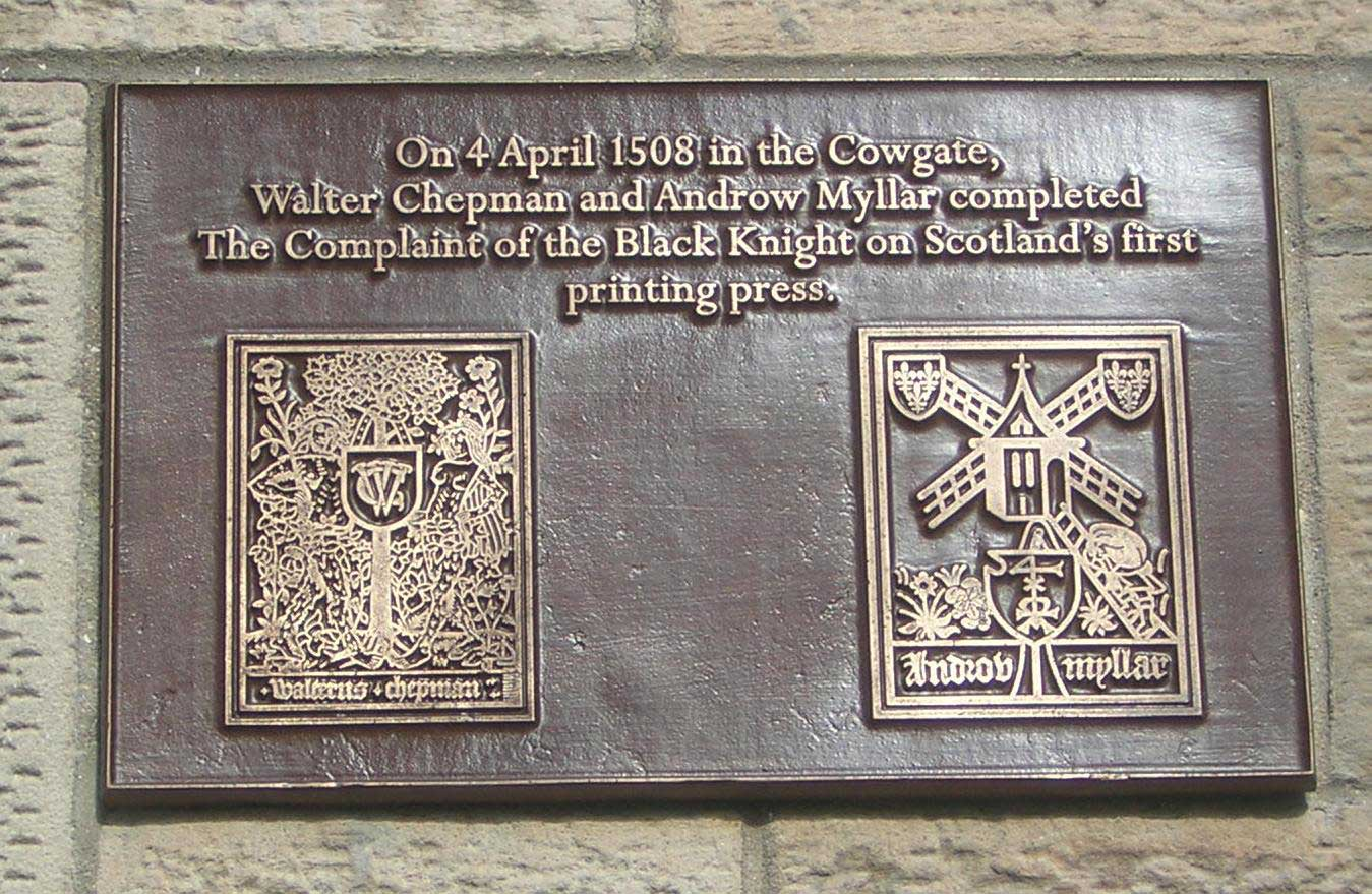 Plaque commemorating 500 years of printing in Scotland